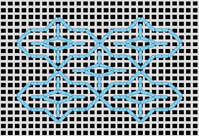 Compressed lace (pattern) method stage 5 illustration