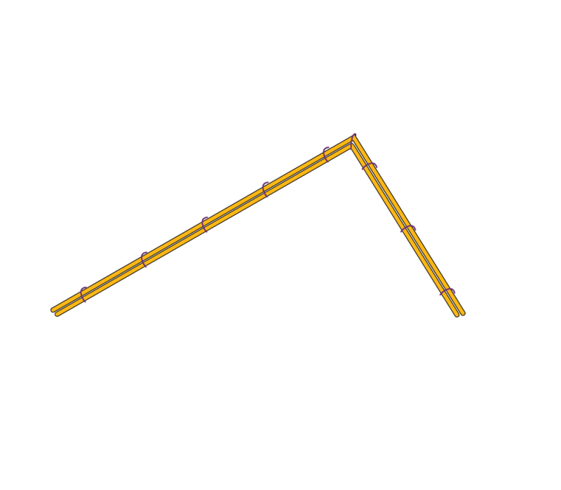 Couching around a right-angle method stage 2 illustration