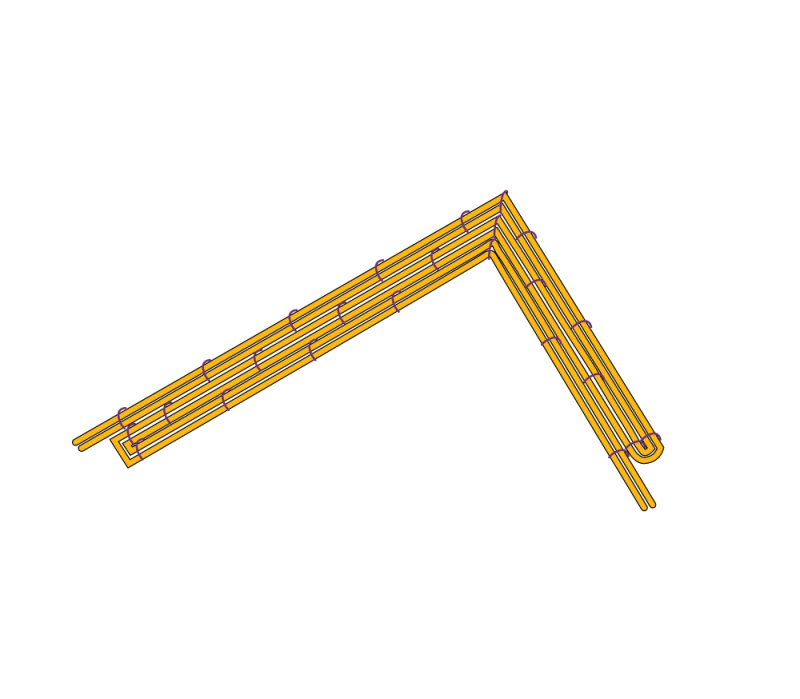 Couching around a right-angle method stage 3 illustration