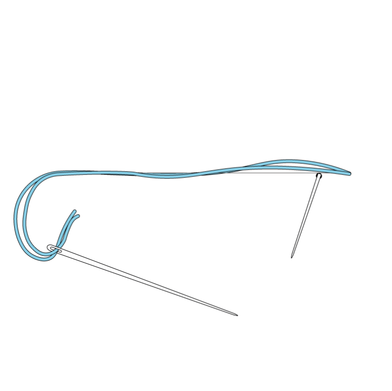 Couching method stage 3 illustration