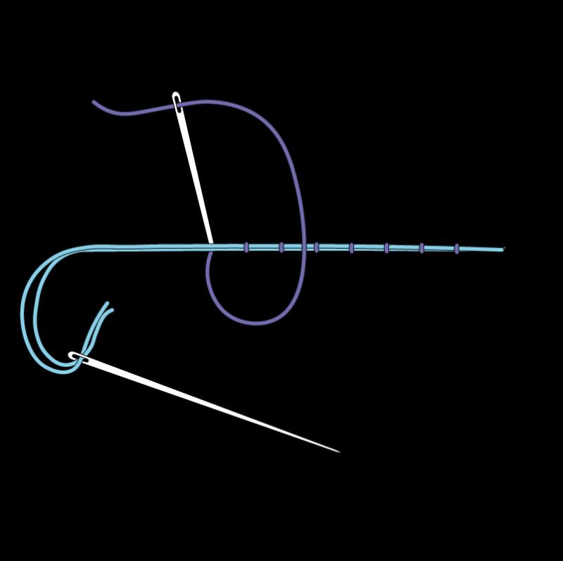 Couching method stage 5 illustration