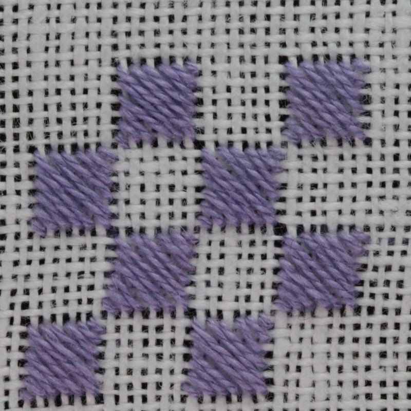 Counted satin stitch method stage 1 photograph