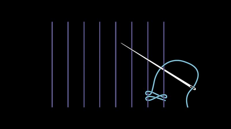Cretan open filling stitch method stage 4 illustration