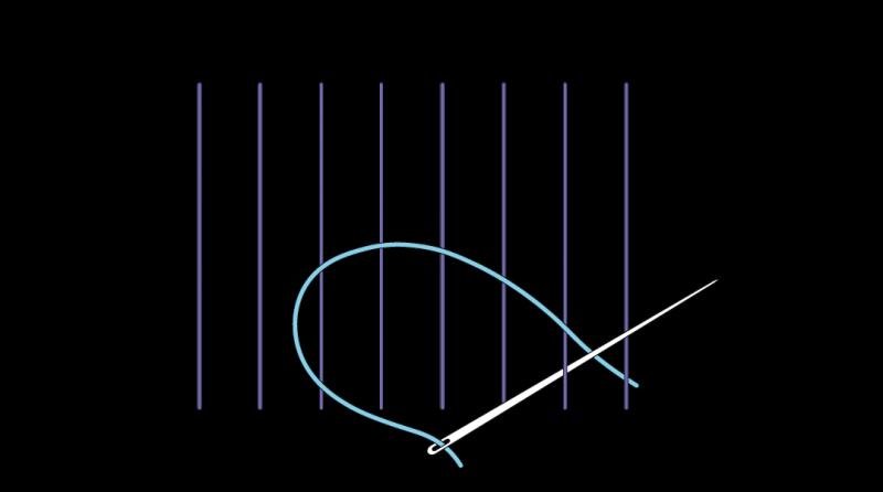 Cretan open filling stitch method stage 1 illustration