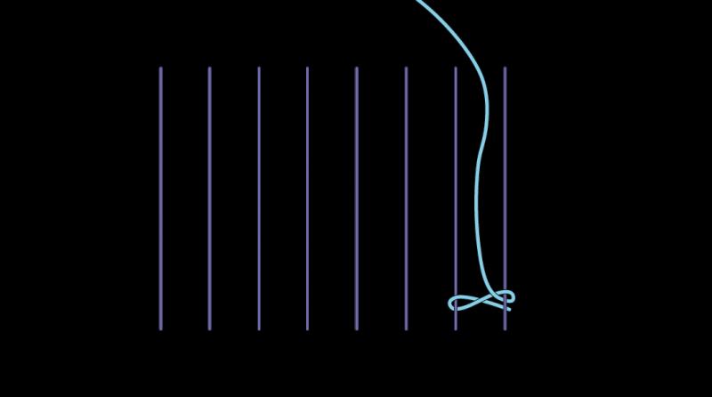 Cretan open filling stitch method stage 3 illustration