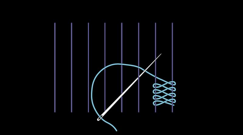Cretan open filling stitch method stage 5 illustration