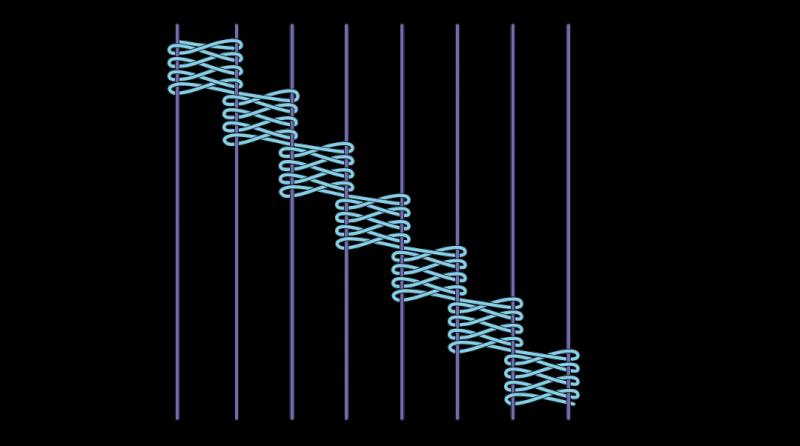 Cretan open filling stitch method stage 6 illustration