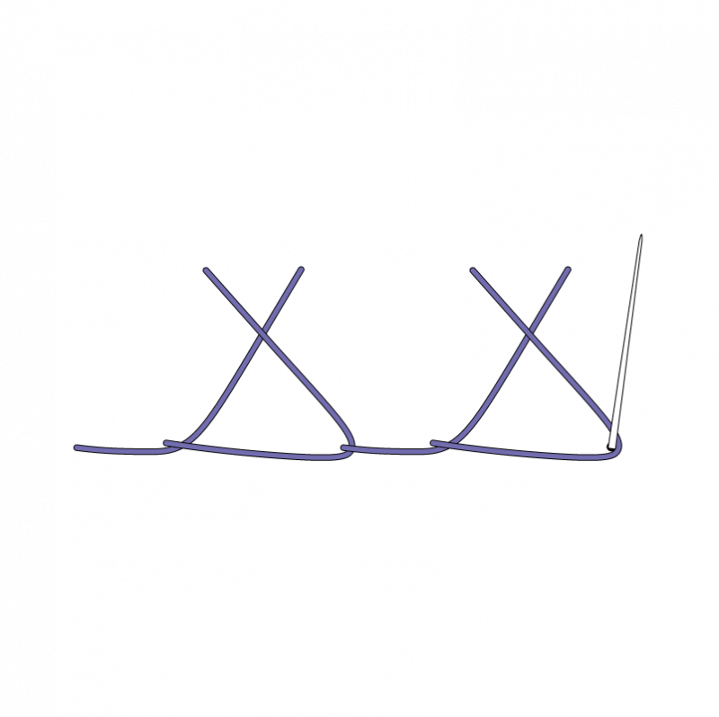 Crossed buttonhole stitch method stage 5 illustration