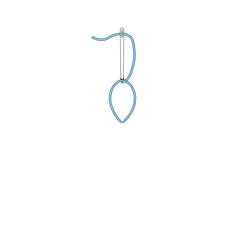 Detached chain stitch method stage 5 illustration