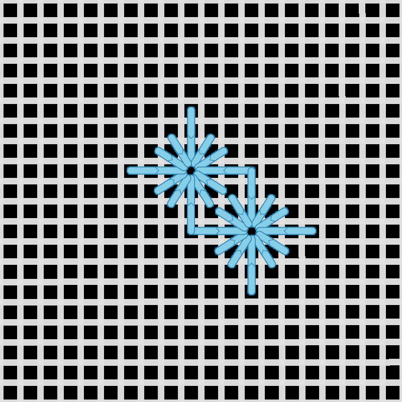 Diamond eyelet (pulled thread) method stage 7 illustration