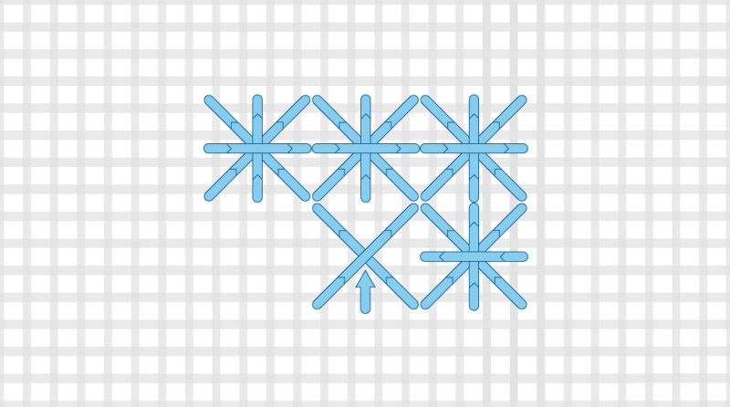 Double cross stitch method stage 8 illustration