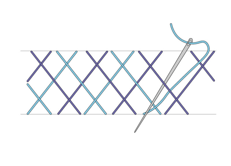Double herringbone stitch method stage 5 illustration