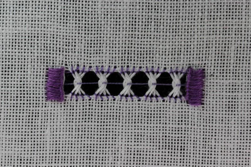 Double twist stitch method stage 7 photograph