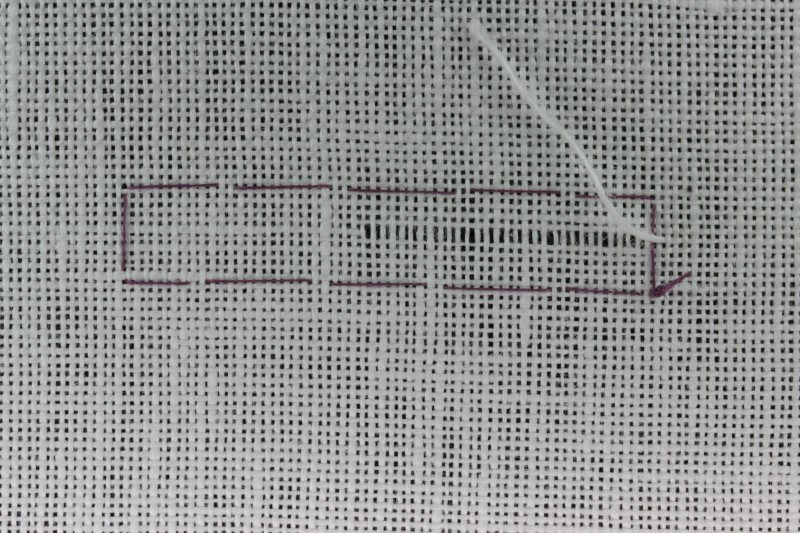 Drawn thread preparation method stage 4 photograph