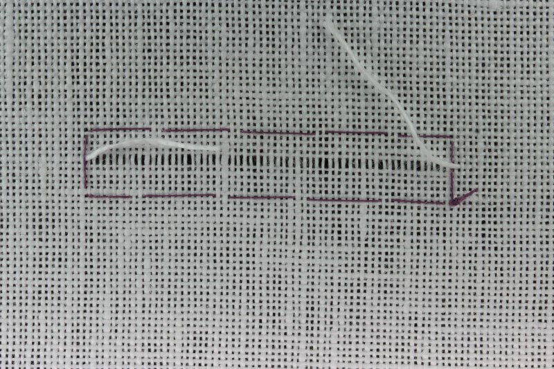 Drawn thread preparation method stage 5 photograph