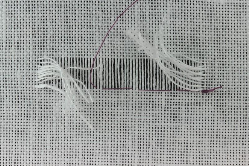 Drawn thread preparation method stage 9 photograph