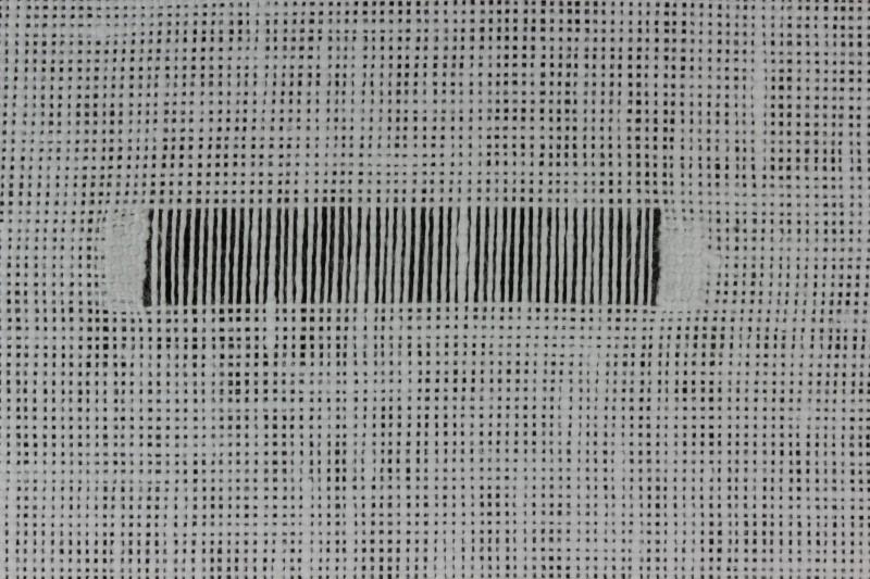 Hem stitch (Drawn Thread) method stage 1 photograph