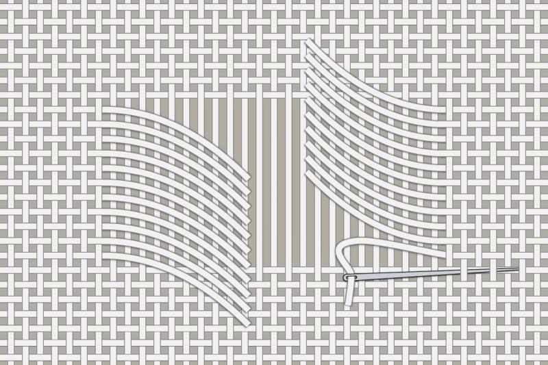 Drawn thread preparation method stage 10 illustration