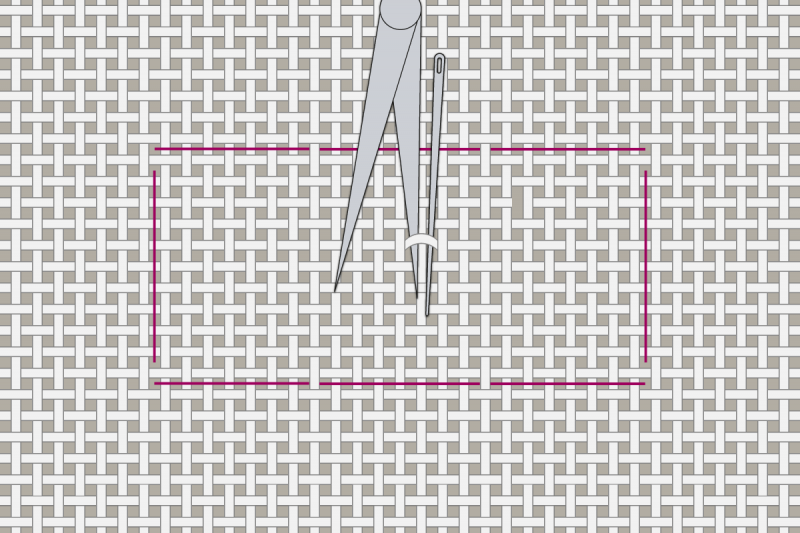 Drawn thread preparation method stage 2 illustration