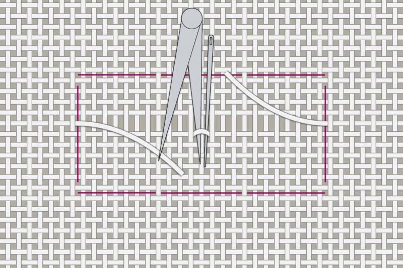 Drawn thread preparation method stage 6 illustration