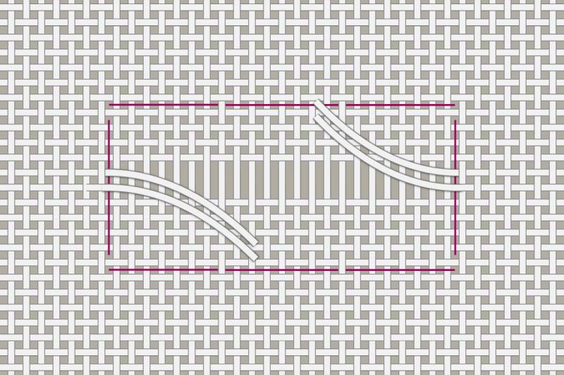 Drawn thread preparation method stage 7 illustration