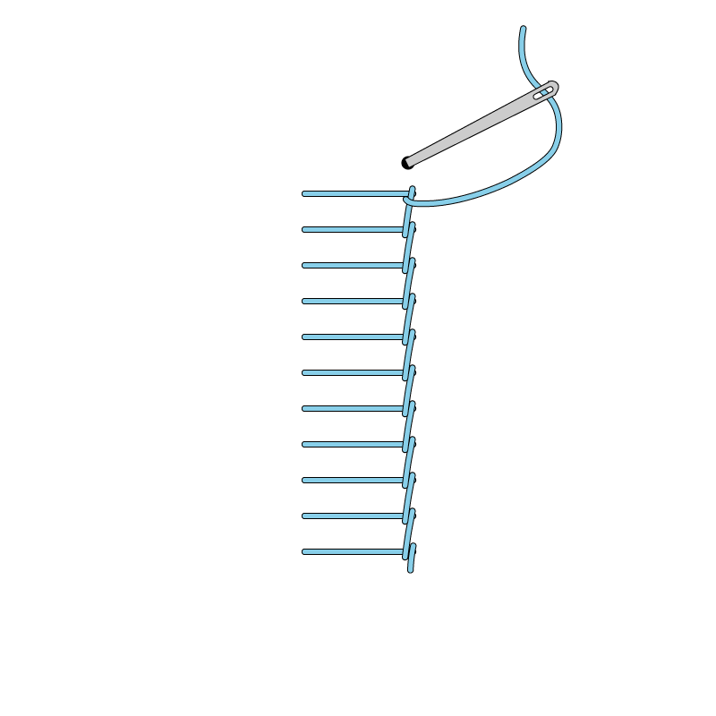 Raised stem band stitch method stage 6 illustration