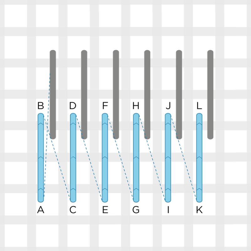 Encroaching straight Gobelin stitch method stage 2 illustration