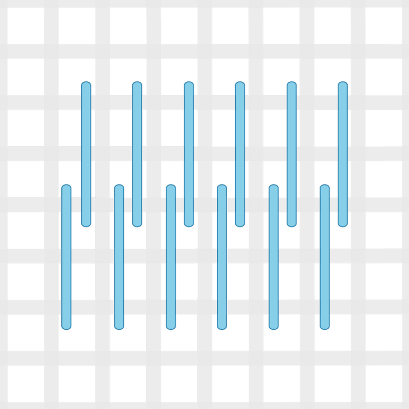 Encroaching straight Gobelin stitch method stage 3 illustration