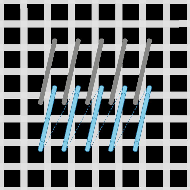 Encroaching Gobelin stitch method stage 2 illustration