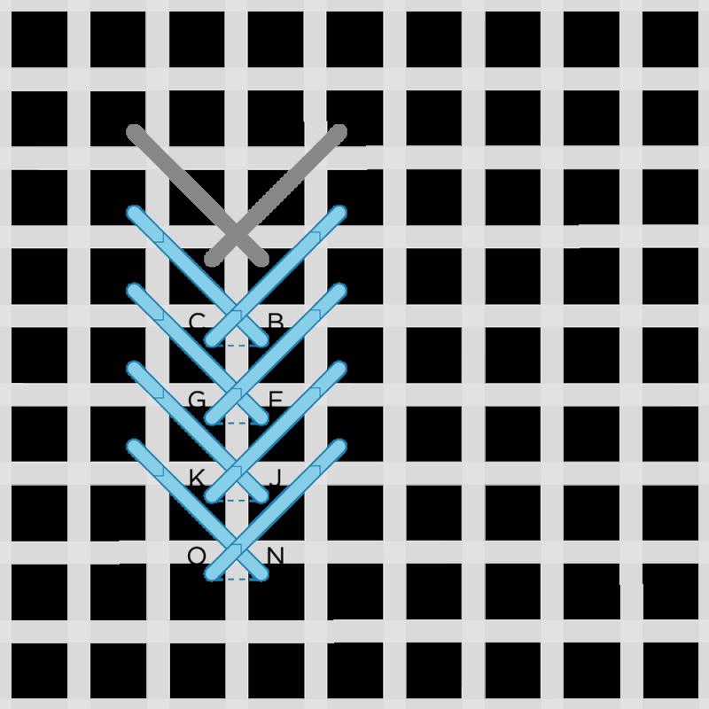 Fern stitch (canvaswork) method stage 3 illustration