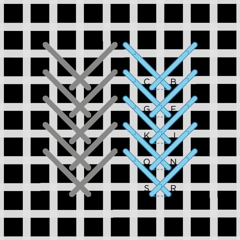 Fern stitch (canvaswork) method stage 4 illustration