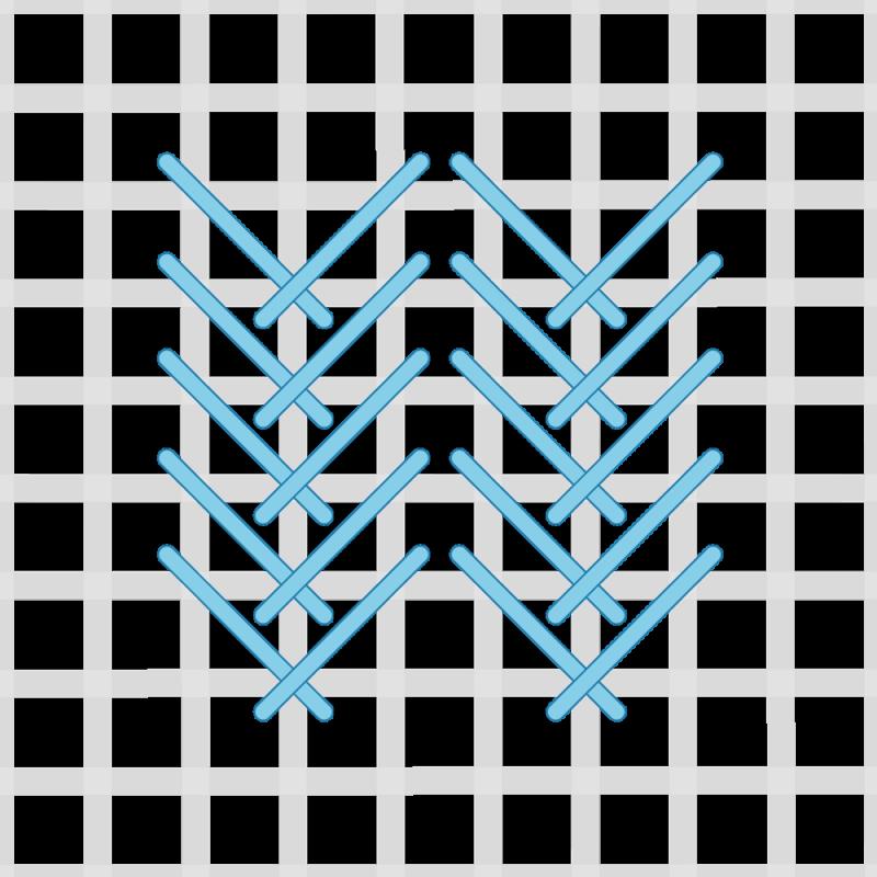 Fern stitch (canvaswork) method stage 5 illustration