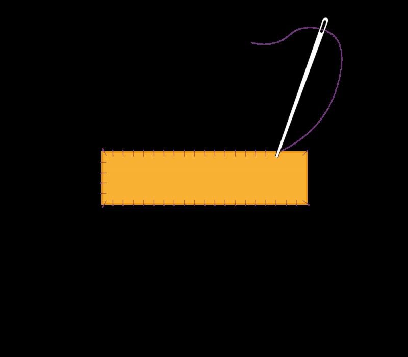 Flat cutwork (goldwork) method stage 1 illustration