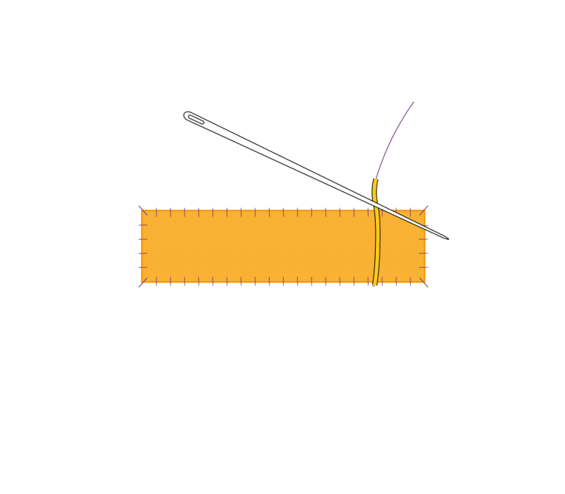 Flat cutwork (goldwork) method stage 3 illustration