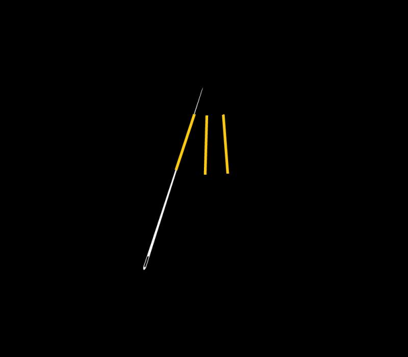 Flat cutwork (goldwork) method stage 4 illustration