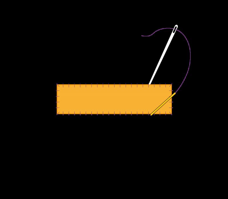 Flat cutwork (goldwork) method stage 5 illustration