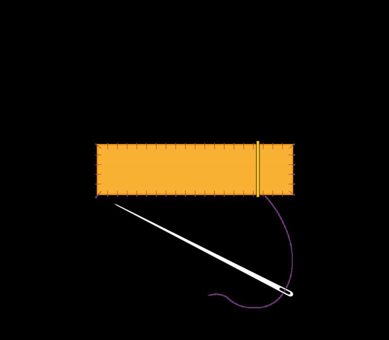 Flat cutwork (goldwork) method stage 6 illustration