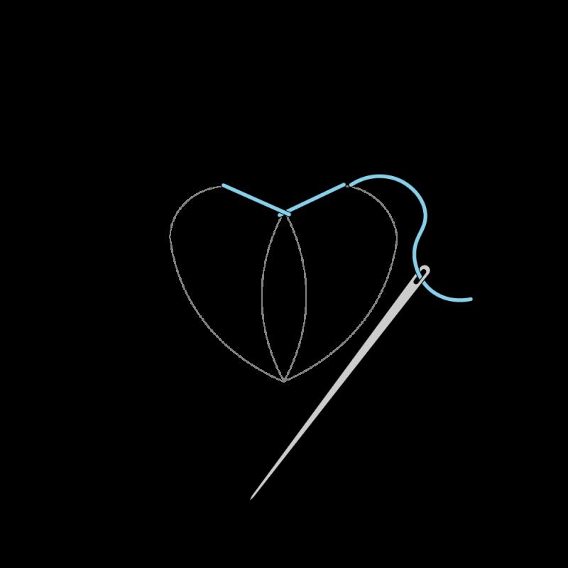 Flat stitch method stage 3 illustration