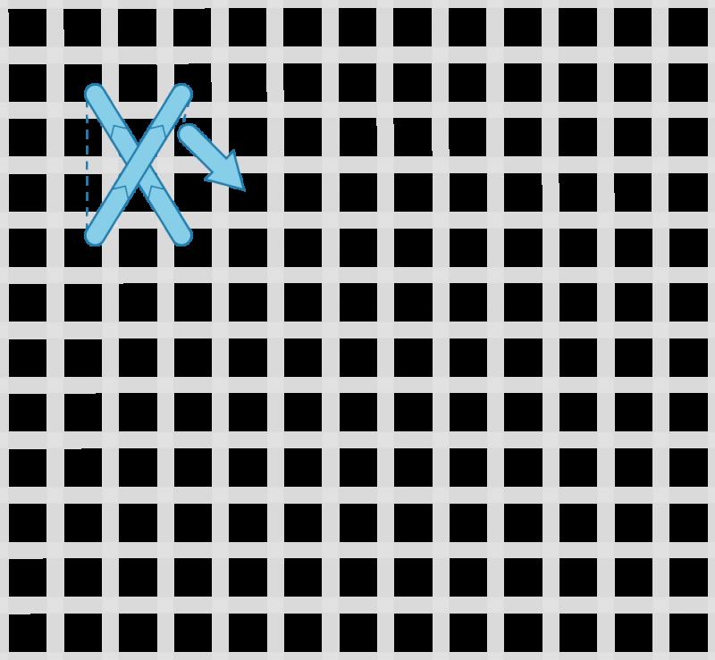 Flying cross stitch method stage 2 illustration