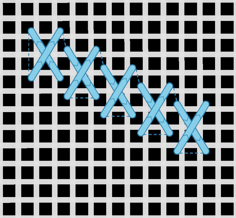 Flying cross stitch method stage 3 illustration