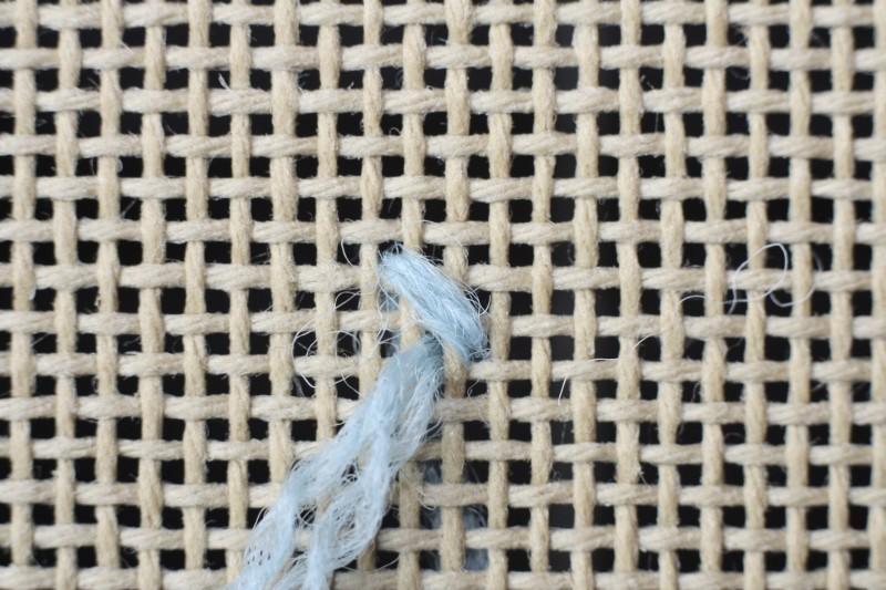 Fern stitch (canvaswork) method stage 1 photograph