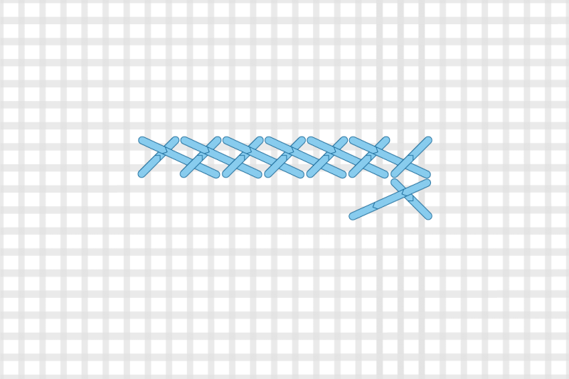 Greek stitch method stage 7 illustration