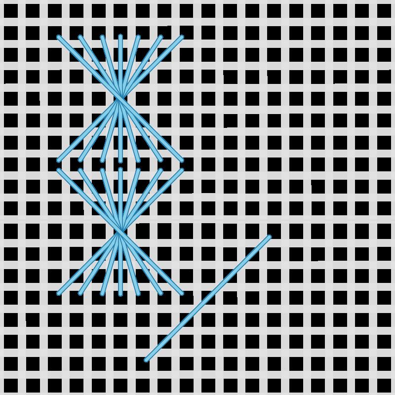 Half Rhodes stitch method stage 5 illustration