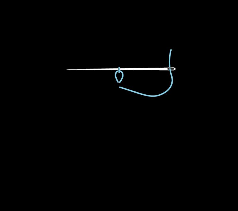 Heavy chain stitch method stage 2 illustration