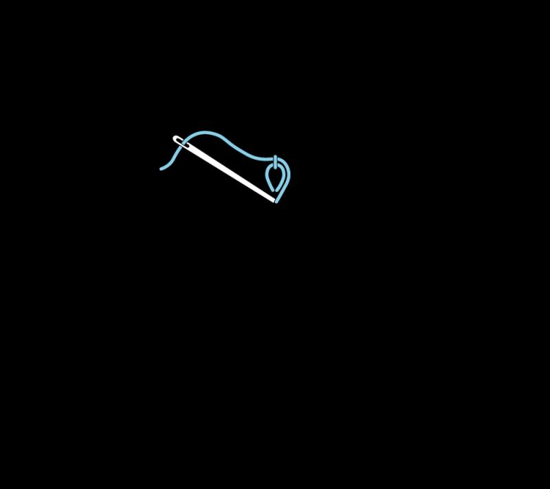 Heavy chain stitch method stage 3 illustration