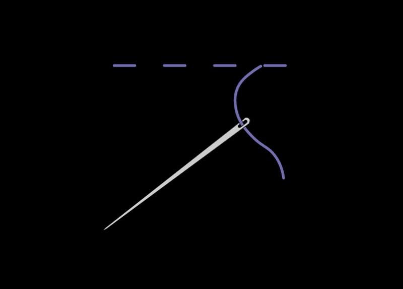 Herringbone ladder filling stitch method stage 1 illustration