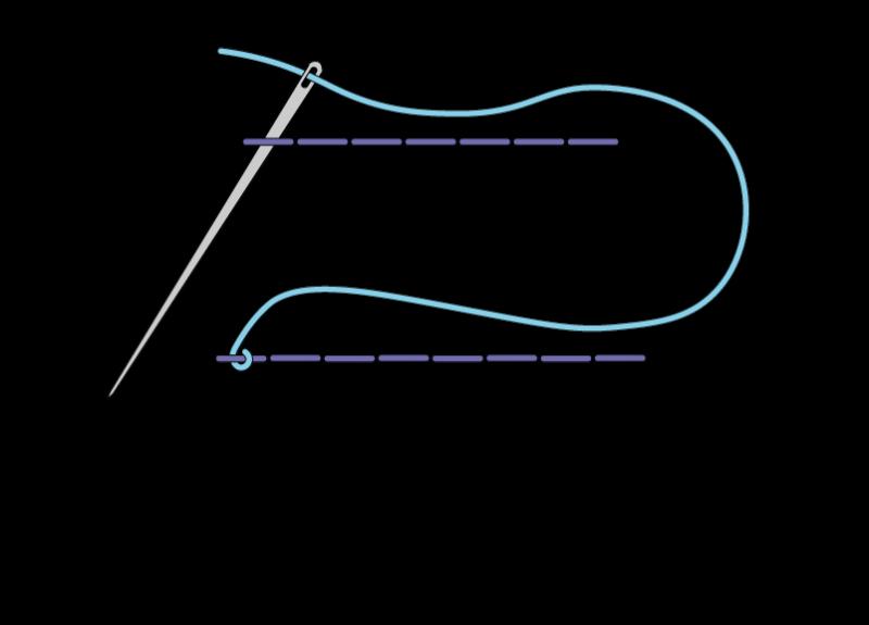 Herringbone ladder filling stitch method stage 5 illustration