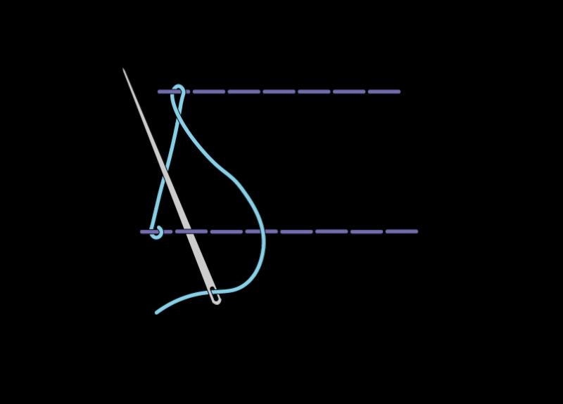 Herringbone ladder filling stitch method stage 6 illustration