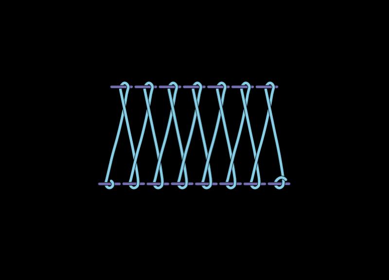 Herringbone ladder filling stitch method stage 8 illustration