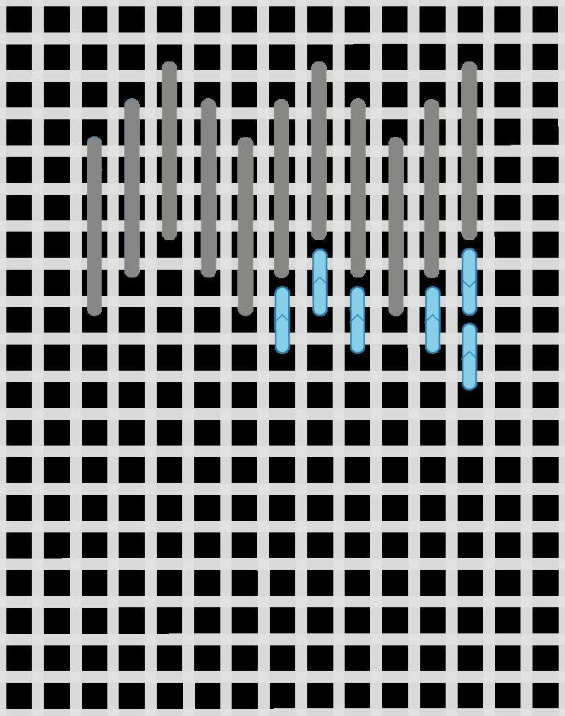 Hungarian grounding stitch method stage 3 illustration